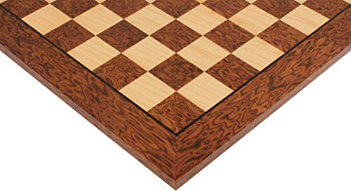 Brown Ash Burl & Maple High Gloss Deluxe Chess Board - 2