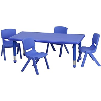 Flash Furniture 24''W x 48''L Rectangular Plastic Height Adjustable Activity Table Set with 4 Chairs
