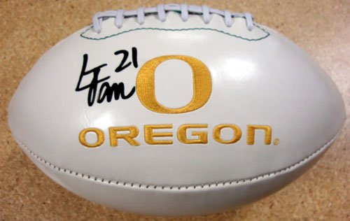 LAMICHAEL JAMES AUTOGRAPHED WHITE LOGO FOOTBALL OREGON DUCKS PSA/DNA ROOKIEGRAPH STOCK #22756