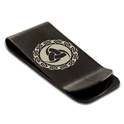 Matte Black Stainless Steel Triskelion Triple Horn of Odin Viking Symbol Engraved Money Clip Credit Card (Odin Matte)