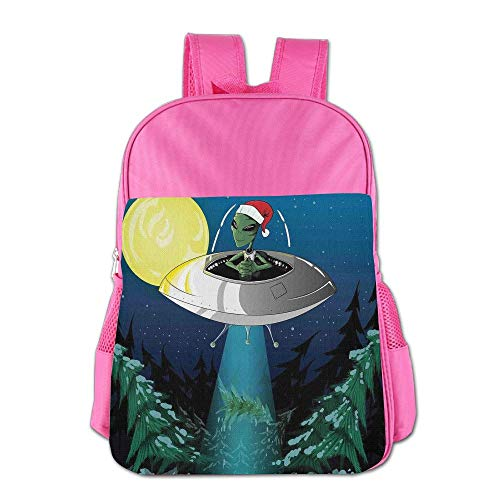 Haixia Kids Boys&Girls Backpacks Outer Space Decor Alien with Santa Claus Hat Kidnaps Tree for Christmas Night Airship Print Full Green Blue