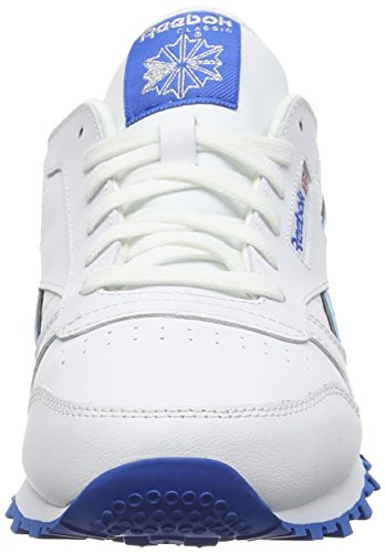 Reebok Cl Leather Reflect, Zapatillas De Running para Niños Blanco / Azul / Plateado (White/Blue Sport/Silver Met)