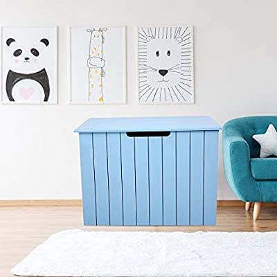 Blanket bench Shelves Kids Perfect for Playroom Living Room Blue Wooden Toy Box,storage chest for Dog Toys Children Toys Clothes YBYT Toy Box Chest with Safety Hinge