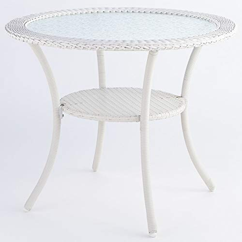 BrylaneHome Roma All-Weather Resin Wicker Bistro Table – White
