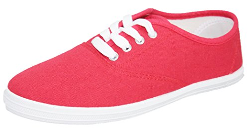 Cambridge Select Dames Gesloten Ronde Neus Four Eyelet Lace-up Platte Plimsoll Fashion Sneaker Blush