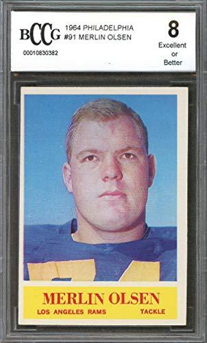 - 1964 philadelphia #91 MERLIN OLSEN los angeles rams rookie card BGS BCCG 8 Graded Card