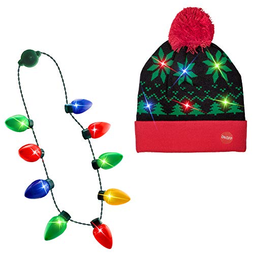LED Light-up Knitted Ugly Sweater Holiday Xmas Christmas Tree Beanies + Light up Christmas Bulb Necklace]()