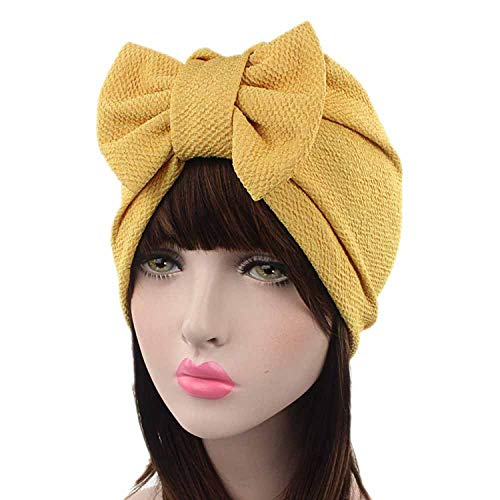 - 2019 caps for Women Lovely Bowknot Hat Beanie Scarf Turban Head Wrap Cap Apparel Accessories Yellow