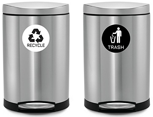Recycle & Trash Stickers (2 Trash + 2 Recycle, Premium Quality) for Use on Trash Cans & Recycle Bins of All Types; 4'' Round with Adhesive on Back (2 Black Trash + 2 White Recycle)