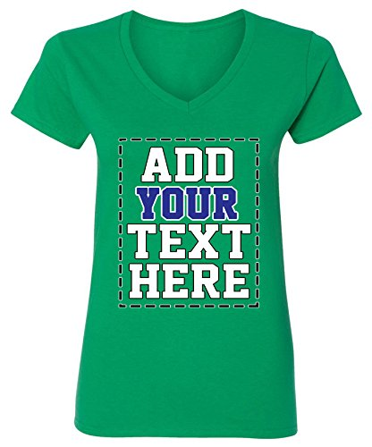Custom V Neck T Shirts for Women - Make Your OWN Shirt - Add Your Number Text Printing (Design Your Own Family Reunion T Shirt)