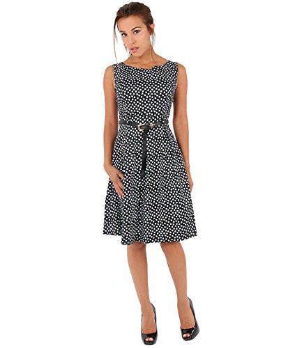7458 Pin Corto Negro KRISP Vuelo Mujer Up Casual Vestido Vintage Elegante qFY4vxf
