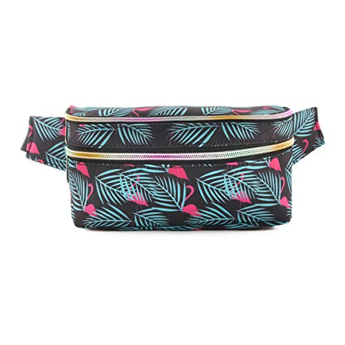 Mum's memory Cute Fanny Pack for Women 80's Waterproof Girls Waist Bag with Adjustable Belt for Traveling, Rave, Festival, Party and Daily Used (90's Black FMG)