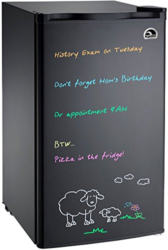 Compact Fridge (Igloo FR326M-D-BLACK Erase Board Refrigerator with Neon Markers, 3.2 cu. ft., Black)