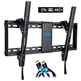 Mounting Dream Tilt TV Wall Bracket Mount for Most 37-70 Inch LED, LCD, OLED and Plasma TVs up to VESA 600x400mm and 60 kg, 9ft. HDMI Cable and Bubble Level Included, Tilting TV Bracket MD2268-LK-02