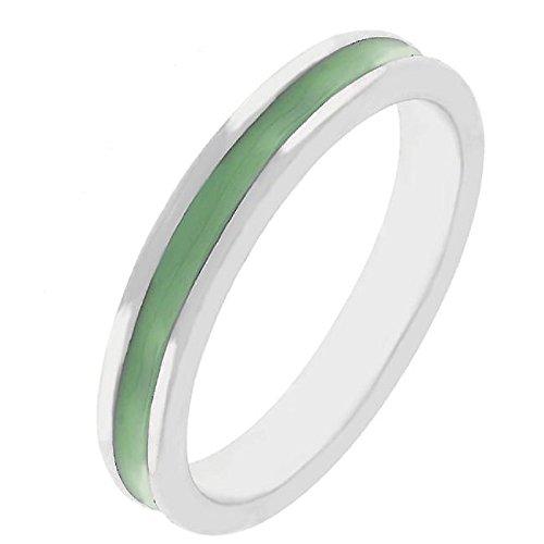 WildKlass Olive Green Enamel Eternity Ring