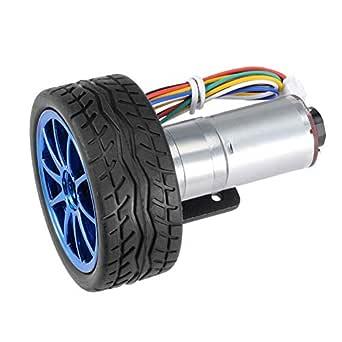 DC 12V DIY Encoder Gear Motor 65mm Magnetic Gearbox with Motor Mount Bracket Engine Wheel Kit Micro Speed Reduction Motor Full Metal Gearbox for Smart Car Robot Model DIY 40RPM