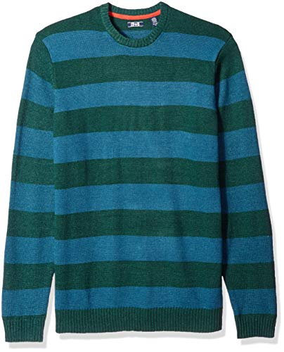 Rugby Stripe Crewneck Sweater - IZOD Men's Big and Tall Newport Stripe 7 Gauge Crewneck Sweater, Rugby Bot Garden, X-Large