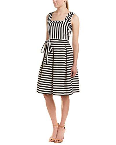 Anne Klein Womens Striped Belted Flare Sheath Dress, 8, Black - Anne Klein Belted Belt