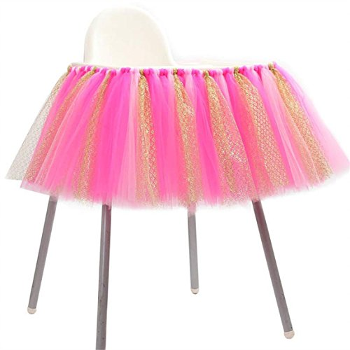 Tulle Tutu Table Skirt for 1st Birthday Girl High Chair Decorations Pink and Gold for Party, Wedding And Home Decoration (Pink&Gold, 39