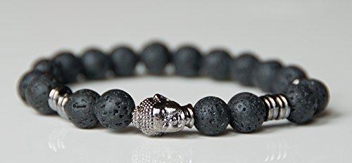 Rock Lava Men Buddha Bracelet, Hematite grounding bracelet, Meditation Healing Reiki Bracelet, Boho Bracelet,