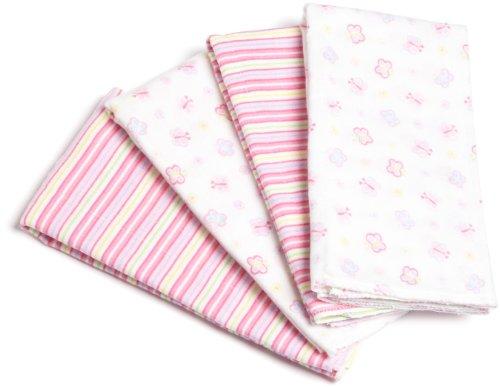 Gerber Baby-girls Newborn 4-Pack Flannel Burp/Diaper