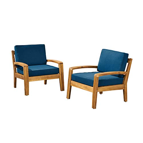 Great Deal Furniture Sally Patio Club Chairs, Acacia Wood, Teak Finish with Teal Outdoor Cushions (Set of 2)