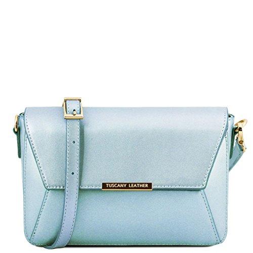 Tuscany Leather TL Bag Pochette in pelle metallic Rosa Celeste