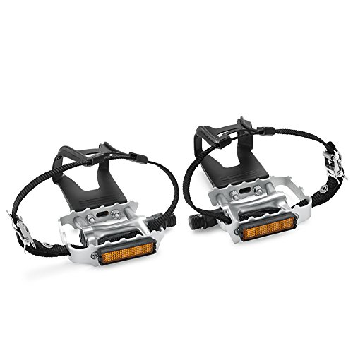 NEWSTY Bike Pedals with Clips and Straps for Outdoor Cycling and Indoor Stationary Bike 9/16-Inch Spindle Resin/Alloy Bicycle Pedals Silver ()