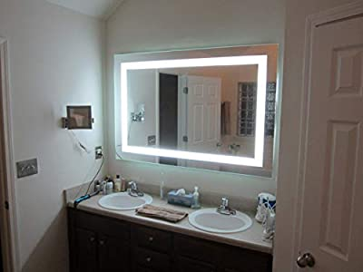 """LED Front-Lighted Bathroom Vanity Mirror: 60"""" Wide x 40"""" Tall - Commercial Grade - Rectangular - Wall-Mounted"""