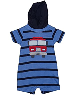 Carter's Hooded Baby Boys Fire Truck HERO Romper Outfit
