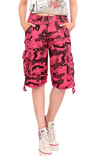 1976b877a59 well-wreapped Chouyatou Women s Loose Fit Multi-Pockets Military Camouflage  Cargo Shorts