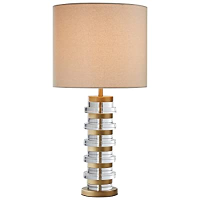 "Rivet Mid Century Modern Brass Trimmed Table Lamp With LED Light Bulb - 13 x 13 x 26 Inches, Clear - This elegant lamp combines clear acrylic and brass in a smart, contemporary style, while a white fabric shade gives it a classic touch. Versatile styling with a solid base make it ideal for a bedroom or living area. 13"" Diameter x 26"" H Base is made of acrylic and metal with brass finish; fabric shade - lamps, bedroom-decor, bedroom - 41u1dcAa2OL. SS400  -"