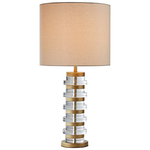 - Rivet Modern Brass-Trimmed Table Lamp with Bulb, 26