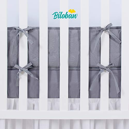 """Breathable Mini Crib Bumpers Padded  for Baby Crib 1-Piece Safe 38/""""x24/"""" Gray"""