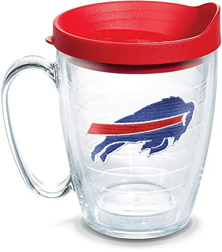 Tervis 1062468 NFL Buffalo Bills Primary Logo Tumbler with Emblem and Red Lid 16oz Mug, Clear