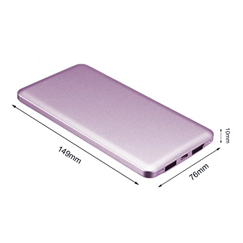uxcell 8000mAh Portable Charger, Extremely Thin, Power Bank, Dual USB Ports, for iPhones, Android, iPads, Tablets, MP3, MP4 Players and Cameras, Purple by uxcell (Image #3)
