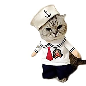 Worderful Dog Sailor Costume Pet Cute Coat Puppy Clothes Cat Navy Suit Apperal With Hoodies for Small and Medium Dog (S)
