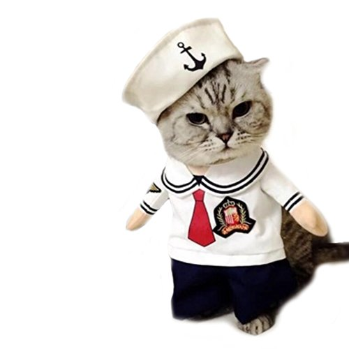 Worderful Dog Sailor Costume Pet Cute Coat Puppy Clothes Cat Navy Suit Apperal Hoodies Small Medium Dog (M) ()