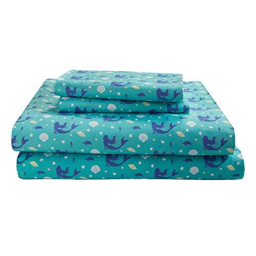 - HowPlum Mermaid Full Sheet Set Microfiber Coastal Ocean Bedding Teal Blue