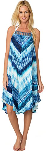 Ingear Printed Tie Dye Square Neck Hem Dress Summer Beach Casual Dress Cover Up (One Size, Blue)