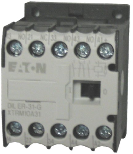 Eaton / Moeller DILER-31-G 4 pole miniature control relay with a 24 volt DC coil. Comes with 3 N.O. and 1 N.C. base contacts, rated for 10 AMPS and mounts on standard 35mm DIN rail ()