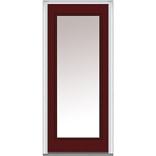 National Door Company Z004797R Steel, Burgundy, Right Hand In-Swing, Exterior Prehung Door, Full Lite, 30''x80'' by National Door Company