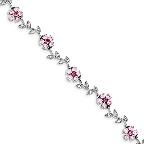 - 925 Sterling Silver 7.75inch Pink Clear Cubic Zirconia Cz Flower Bracelet 7.75 Inch Fine Jewelry Gifts For Women For Her