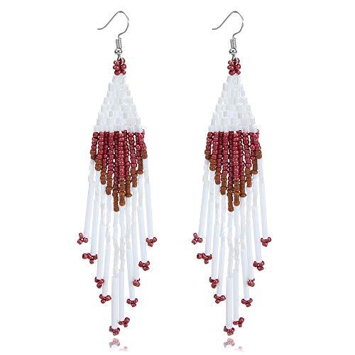 Royalbeier Beaded Earrings Oversized Handmade Seed Beaded Drop Earrings Long Beaded Navajo Indian Dangle Earrings for Women Ladies