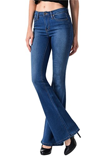 Angry Rabbit Women's Premium Designer's Basic Flare Jeans Made in USA (25, Medium Blue)