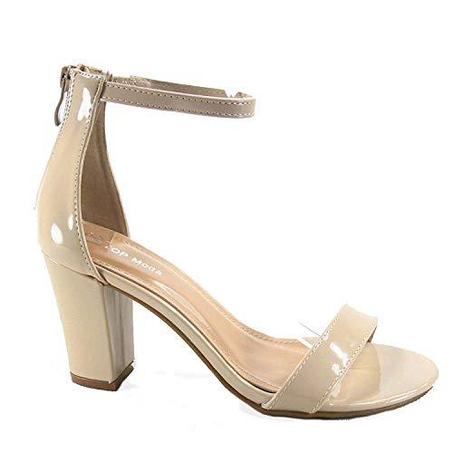 TOP Moda Women's Hannah-1 Ankle Strap High Heel Sandal (Nude Patent, 10 M US)