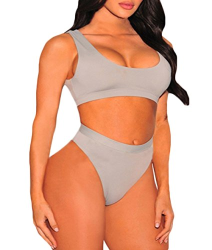 Womens Sports Style Wireless Bikini Tank Top High Waist Swimsuit Bottom 2-piece Bathing Suit Grey L