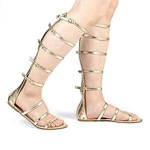 DREAM PAIRS Women's Athena_HIGH Fashion Gladiator Design Knee High Flat Sandals
