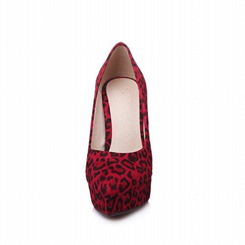 MissSaSa Donna Scarpe col Tacco di Leopardo (37, Rosso)