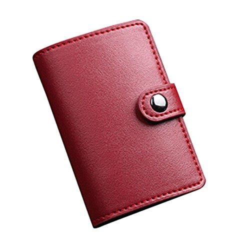 Titular de la tarjeta, Morwind Acero inoxidable cuero hombres billetera ID tarjeta de crédito titular protector estuche monedero Rojo
